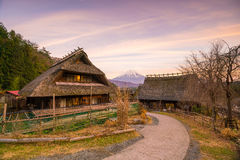 Old Japanese style house and Mt. Fuji  at sunset Royalty Free Stock Photo