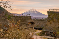 Old Japanese style house and Mt. Fuji  at sunset Stock Photography