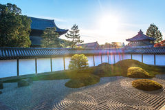 Old japanese temple and japanese garden with sunlight Stock Images