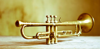 Old jazz trumpet. The great passion for music Royalty Free Stock Photography