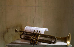 Old jazz. Trumpet music of the 50's stock photography