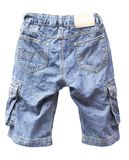 Old jean shorts isolated. On white background royalty free stock photo