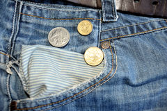 Old jeans and australian dollars coins. Near empty pocket Stock Photos