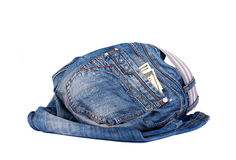 Old jeans with money in the pocket Royalty Free Stock Photos