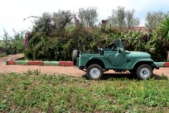 Old jeep green 4X4 classic car stock image