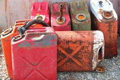 Old jerry cans. Old and rusty jerry can gasoline containers Stock Photo