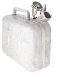 Old jerrycan. The old open aluminum canister. Isolated on white stock photography