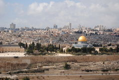 Old Jerusalem. View on old Jerusalem and Dome of the Rock temple Royalty Free Stock Photo