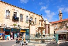 Old Jerusalem. Christian Quarter of the Old City of Jerusalem - Muristan fountain at center of market area of the Muristan. Jerusalem (Israel Stock Photography