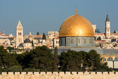 Old Jerusalem, Israel - Dome of the Rock. Morning view of old Jerusalem in Israel and Dome of the Rock from the Mount of Olives Royalty Free Stock Photos