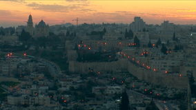 Old Jerusalem at night stock footage