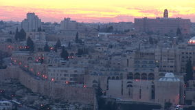 Old Jerusalem at night stock video