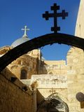 Old Jerusalem, road to the Church of the Holy Sepulchre royalty free stock photography
