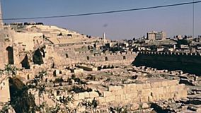 Old Jerusalem wall. Jerusalem, Israel - Circa 1981: Old City of Jerusalem wall panorama. With the As-Sakhrah Mosque on the Temple Mount. Historic restored stock video