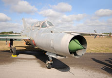 Old jetfighter. Cold War era Soviet fighter jet now in disrepair Royalty Free Stock Images