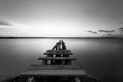 Old Jetty. Old run down jetty at Cleveland, Queensland Stock Photos
