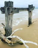 Old jetty. Old eroding jetty with drift wood and waves  on beach Royalty Free Stock Photography
