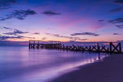 Old jetty pranburi Stock Photo