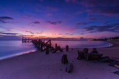 Old jetty pranburi Stock Photos