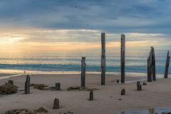 Old jetty pylons on a beach with sunset sky stock photography