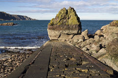 Old jetty and rocks.St Abbs Head. Royalty Free Stock Images