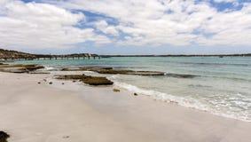 Old jetty on the sandy beach in Kangaroo Island coastline, South Australia