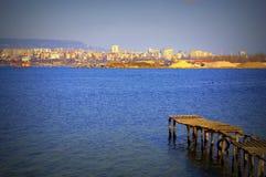Old jetty at Varna lake royalty free stock images