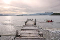Old jetty walkway pier. The the lake stock images