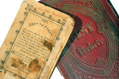 Old Jewish books. An Iraqi Jewish book written in Arabic in Hebrew letters, and a Czech Reform siddur (prayerbook) from 1860 Stock Image