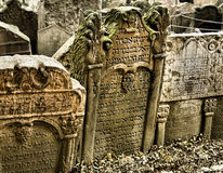 Old Jewish Cemetery. Tombstones at the Old Jewish Cemetery in Prague Stock Photo