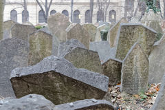 Old Jewish cemetery and a church, Prague Royalty Free Stock Images