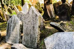 Old Jewish Cemetery. One of the most important Jewish historical monuments in Prague, Czech Republic Stock Image