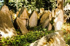 Old Jewish Cemetery. One of the most important Jewish historical monuments in Prague, Czech Republic Royalty Free Stock Image