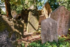 Old Jewish Cemetery. One of the most important Jewish historical monuments in Prague, Czech Republic Royalty Free Stock Images