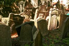 Old Jewish Cemetery. One of the most important Jewish historical monuments in Prague, Czech Republic Royalty Free Stock Photography