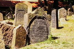 Old Jewish Cemetery. One of the most important Jewish historical monuments in Prague, Czech Republic Royalty Free Stock Photos