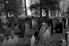 Old Jewish Cemetery in Prague Stock Photo