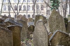 Old Jewish Cemetery, Prague. Prague, Czech Republic - March 17, 2017: Tombstones on the Old Jewish Cemetery in the Jewish quarter Royalty Free Stock Photos