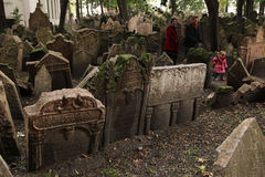 Old Jewish Cemetery in Prague, Czech Republic. Stock Images