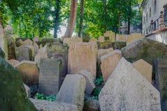 Old Jewish Cemetery in Prague Stock Photo
