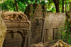 Old Jewish Cemetery in Prague. Tombstones at the old Jewish cemetery in the Josefov ghetto area of central Prague Royalty Free Stock Photos