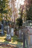 Old Jewish cemetery with weathered tombstones, Germany.  Stock Image