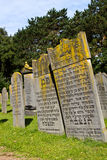 Old Jewish graves. Old weathered headstones, predating World War Two and the holocaust, in the Jewish section of the cemetery in the small Dutch town of Den Stock Image