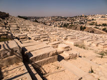 Old jewish graves on the mount of olives in Jerusalem, Royalty Free Stock Images