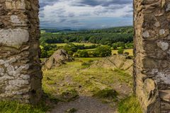 Old John folly in Bradgate Park, Leicestershire, looking towards Charnwood forest. A view from the top of the hill with Old John folly past the Charnian rocks in Royalty Free Stock Images