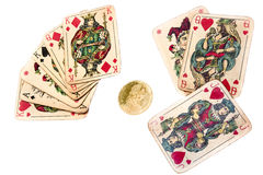Old joker cards Stock Image