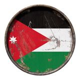 Old Jordan flag. 3d rendering of a Jordan flag over a rusty metallic plate. Isolated on white background Stock Images
