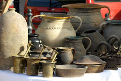 Old jugs. For sale at antiques fair Royalty Free Stock Image
