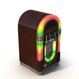 Old jukebox music player isolated on white 3D Illustration Royalty Free Stock Image
