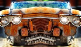 Old Junk Car with different effects. Royalty Free Stock Image